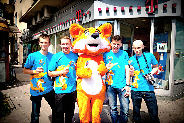 At the Firefox OS launch in Poland in July 2013.