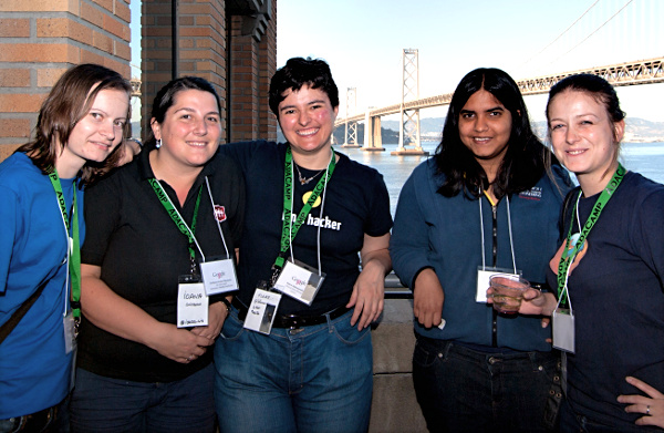 Marcela Oniga with other members of WoMoz - Ioana Chiorean, Flore Allemandou and Delphine Lebédel - in front of the San Francisco Bay Bridge in June 2013.